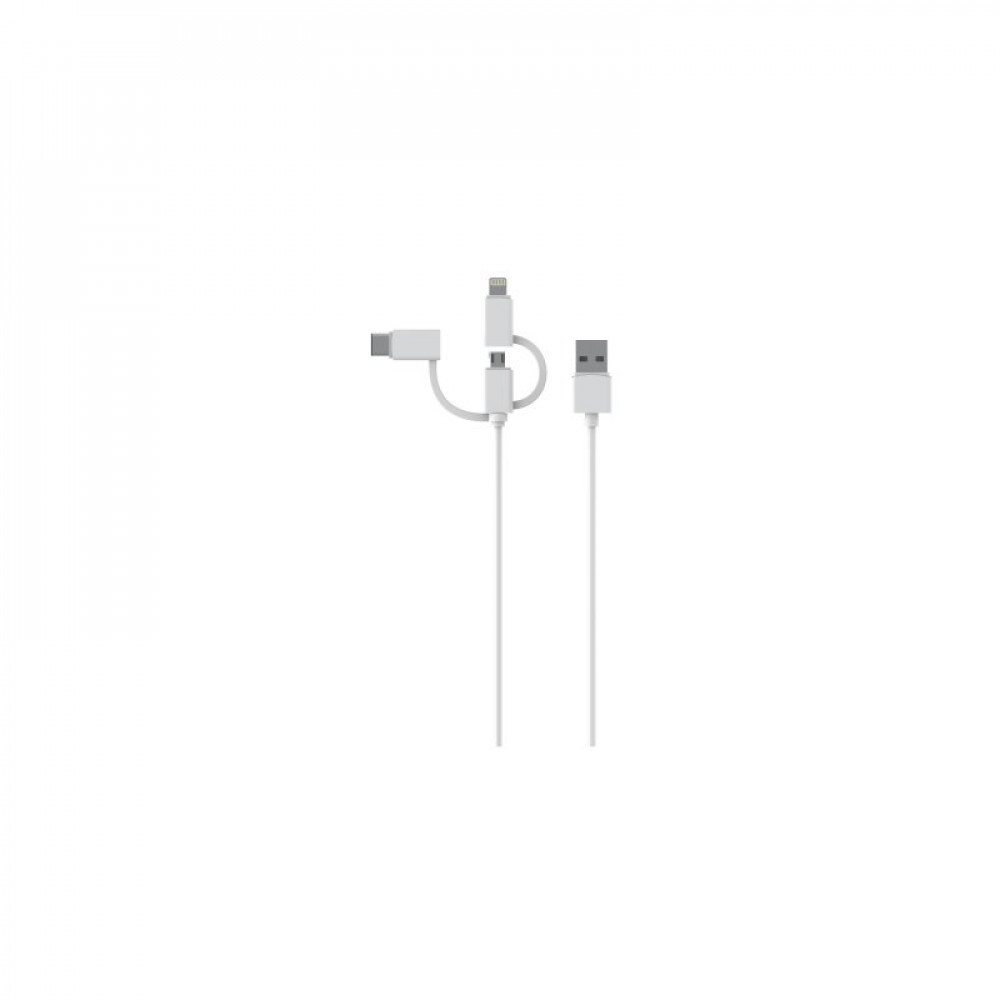 Essentials 3i1 USB-A - USB-C/MicroUSB/Lightning kabel, 1m, vit